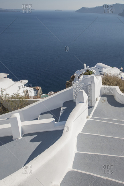 Whitewashed staircase in Santorini, Greece
