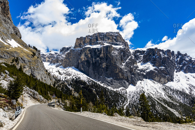 Mountain road in Dolomites, Italy