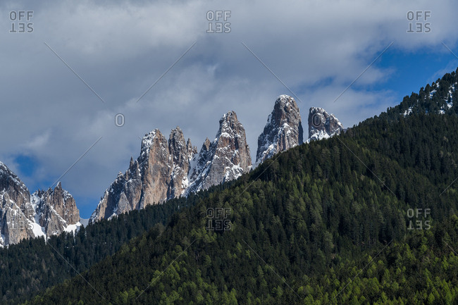 Forest by mountain peaks in Dolomites, Italy