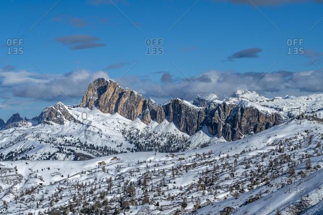 Snow on mountain range in Dolomites, Italy
