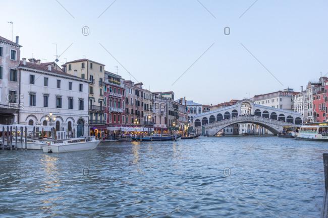 Rialto Bridge on Grand Canal in Venice, Italy