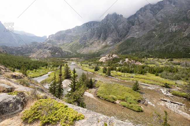 River and mountains in Gallatin National Forest, Montana, USA