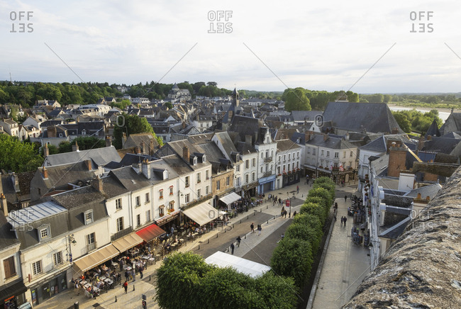 Amboise, Loire Valley, France - June 9, 2019: Townscape of Amboise in Loire Valley, France
