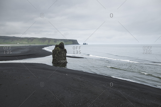 Rock formation on  beach in Vik, Iceland
