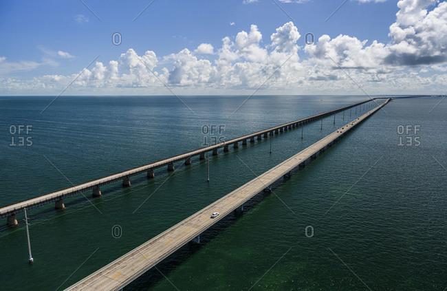 Aerial view of Seven Mile Bridge in Florida Keys, USA