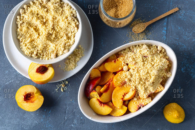 Raw ingredients for cooking plum peach pie