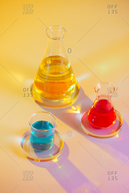 Colorful medicine in pharmaceutical lab.