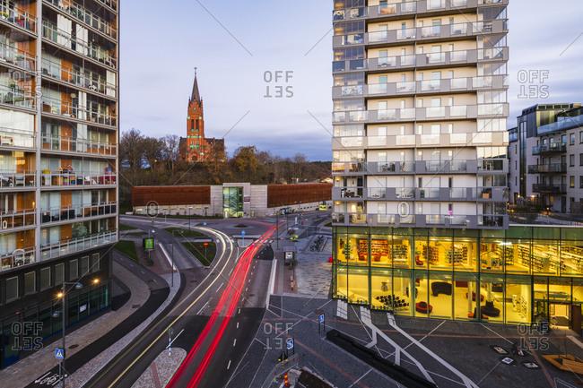 Sweden - November 19, 2018: City traffic at dusk