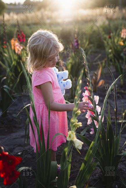 Girl on gladioli field