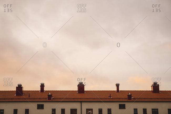 Evening sky over building