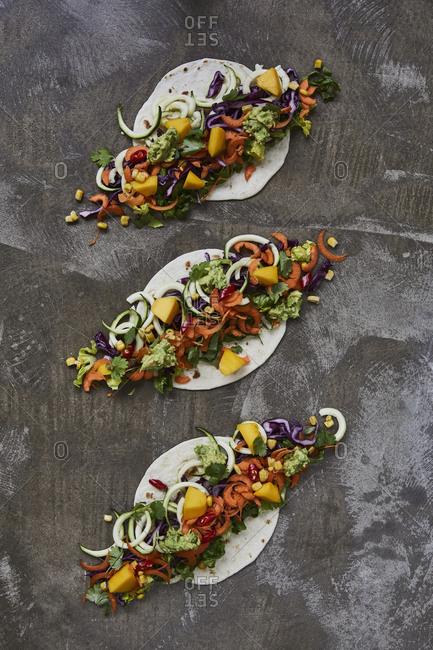 Vegetables on tortilla wraps