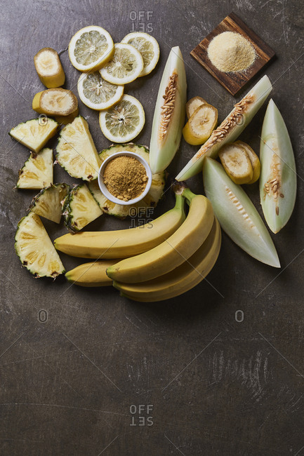 Yellow fruits and spices