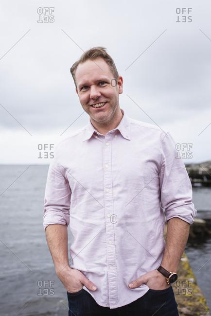 Smiling man at sea