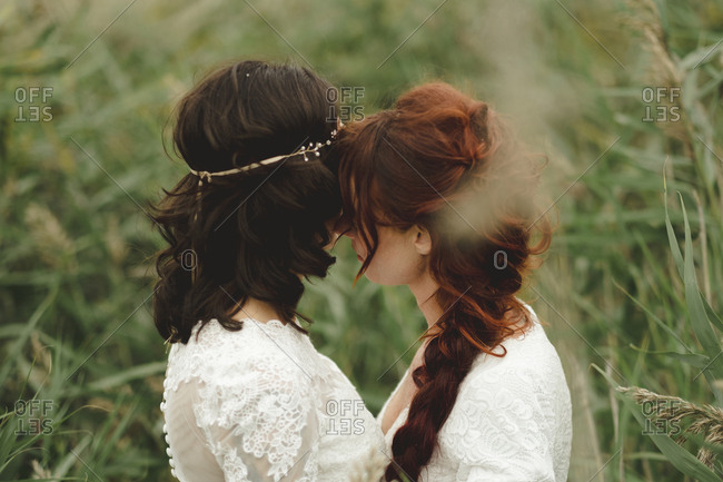 Brides together on wedding day