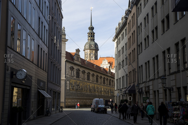 November 1, 2018: A view towards the Procession of PrincesFurstenzugin Dresden, Germany