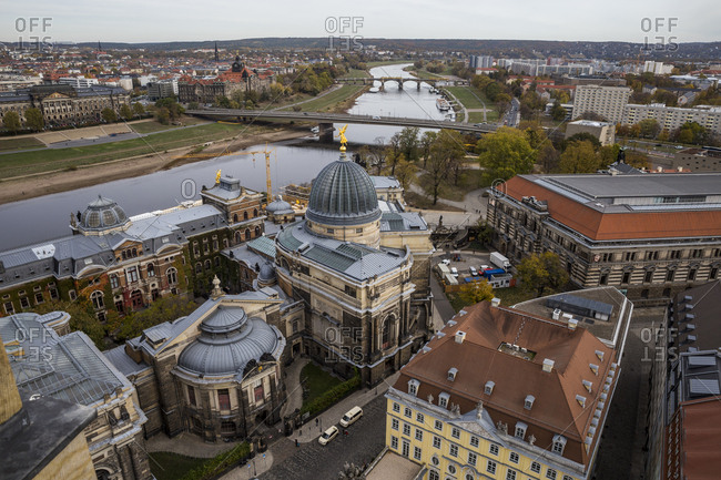 November 1, 2018: A view of the city from the Frauenkirche viewing platform in Dresden, Germany