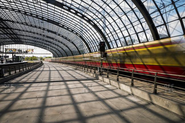 August 31, 2018: An SBahn train leaving the main train station (Hauptbahnhof), Berlin, Germany.