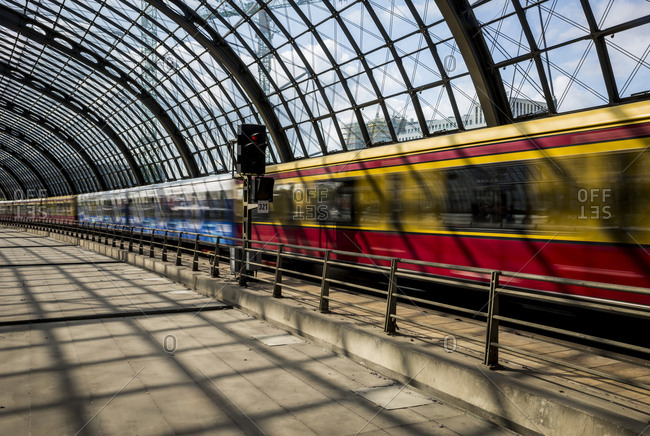An SBahn train leaving the main train station (Hauptbahnhof), Berlin, Germany.