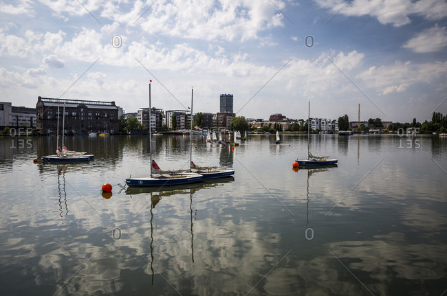 August 17, 2018: Sailing boats on the Rummelburger See in Berlin, Germany.
