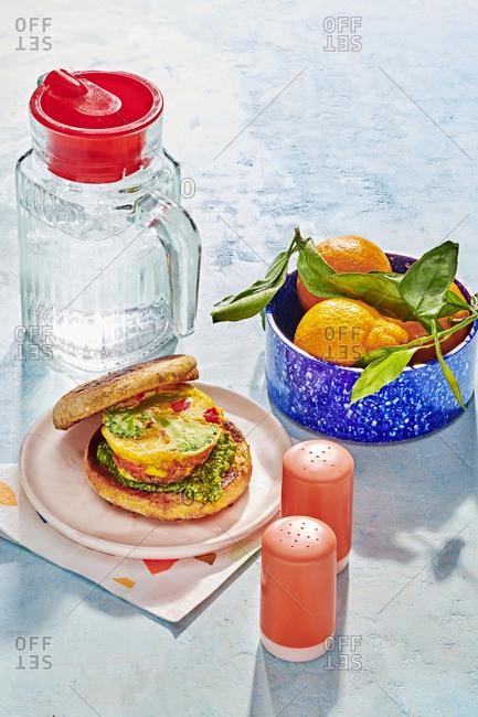 Healthy breakfast sandwich and fruit