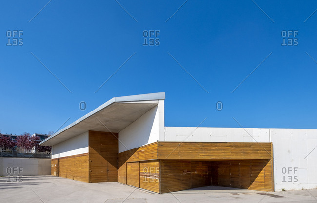 March 21, 2019: Urban landscape with contemporary architecture in the public park of the city of Viladecans in the province of Barcelona Catalonia Spain