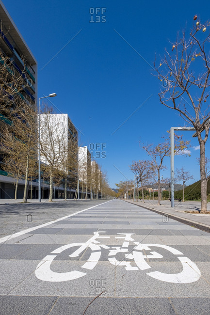 Traffic sign in a lane intended for bicycles in a modern area of ??the city of Barcelona Catalonia Spain