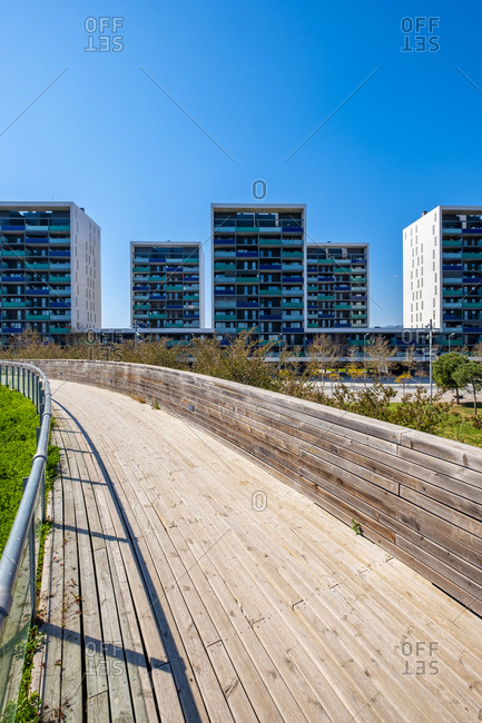 Urban landscape with modern apartment buildings in an area of ??contemporary architecture in Barcelona