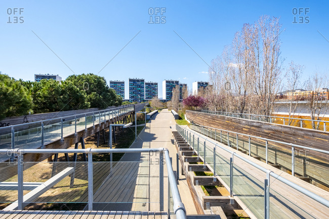 Urban landscape with contemporary architecture in the public park of the city of Viladecans in the province of Barcelona Catalonia Spain