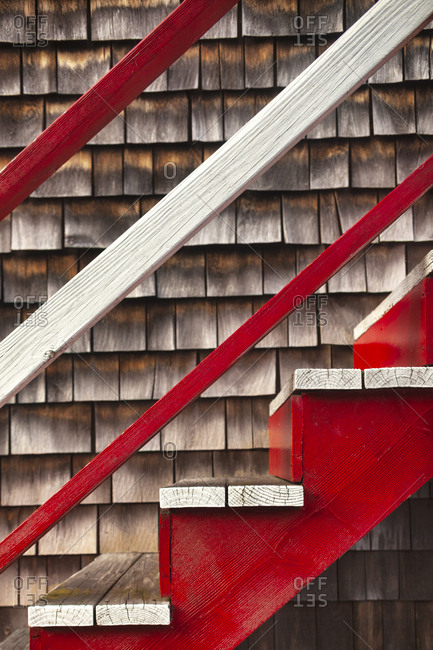 Details of wooden stairs in Rockport, Massachusetts