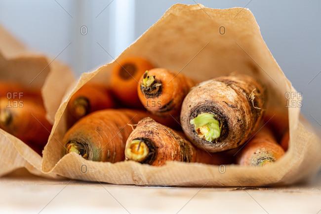 Bag full of homegrown carrots