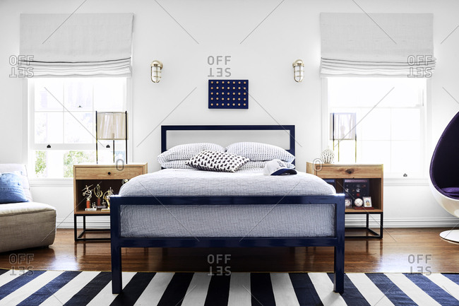 Los Angeles, California - May 31, 2019: Simple modern bedroom in a California home