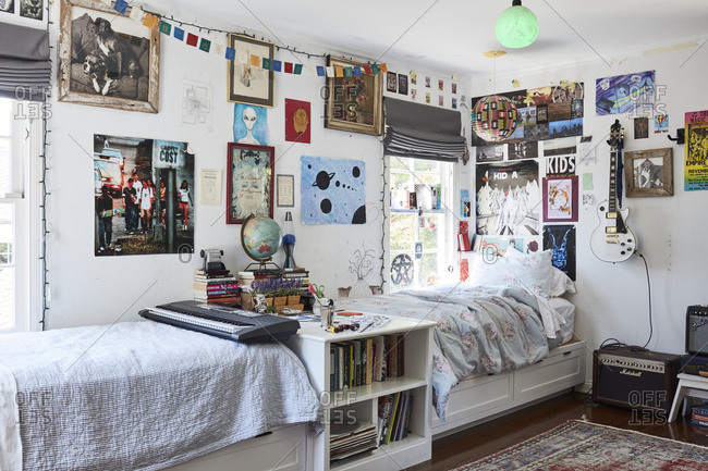 Los Angeles, California - May 17, 2019: Interior of a teenager's bedroom filled with posters and artwork