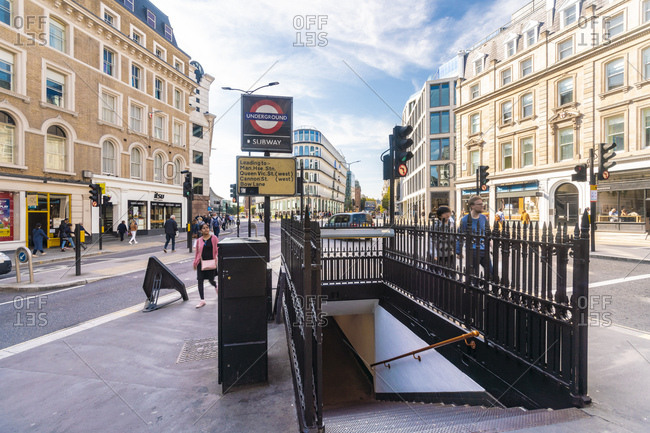 United Kingdom, England, London - September 29, 2018: Subway exit at Mansion House by Queen Victoria and Cannon street
