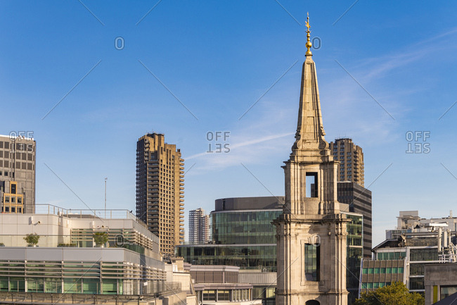 View of the Skyline of London with Barbican center brutal architecture