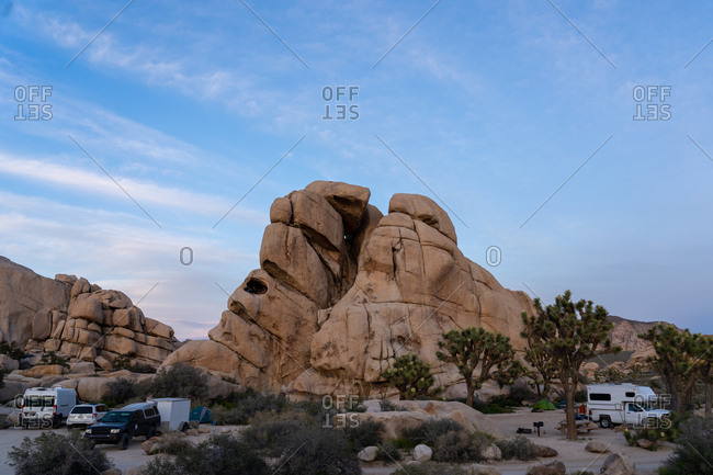 United States, California, Joshua Tree - March 26, 2019: Hidden Valley Campsite in Joshua Tree National Park at Sunset
