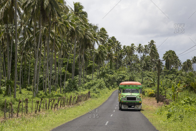 Samoa - December 20, 2018: Colorful Samoan public bus on rural road, next to a coconut plantation