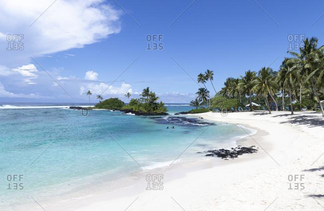 Matareva tropical exotic white sand beach with clear waters, Samoa