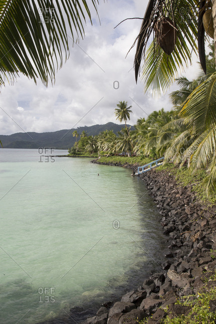 Small artificial blue water bay with palm trees, Samoa