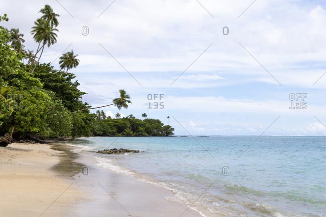 Empty sandy beach, with green vegetation aside, Samoa