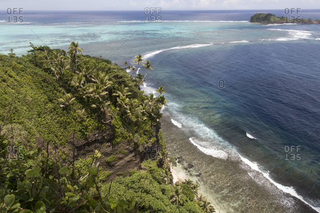 Aerial view of a reef lagoon and fringing reef, South Pacific, Samoa