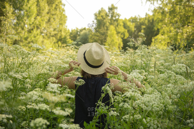 Rear view of young woman in a hat standing in field amidst high trees