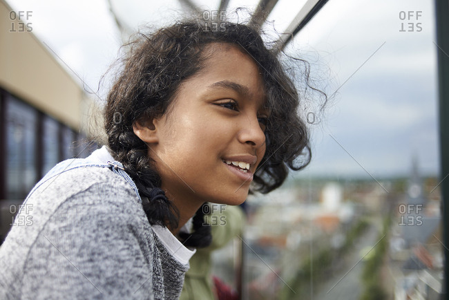 Portrait of a beautiful young teen mixed race girl