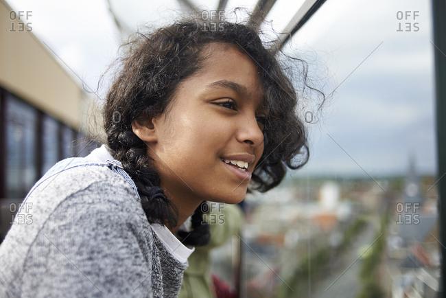 Portrait of a beautiful young teen mixed race girl