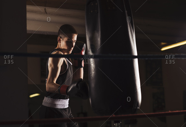Young man boxer practicing a hit boxing during workout.