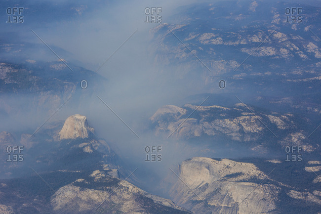Aerial view of wildfire in Yosemite National Park, California.