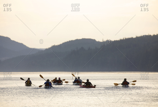 Telegraph Cove, British Columbia, Canada - August 22, 2019: Canada British Columbia, Telegraph Cove, Johnstone strait, kayakers rowing at sunrise