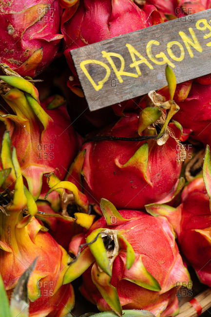 Close up of dragon fruit for sale in a market