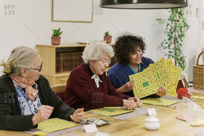 Senior women playing bingo