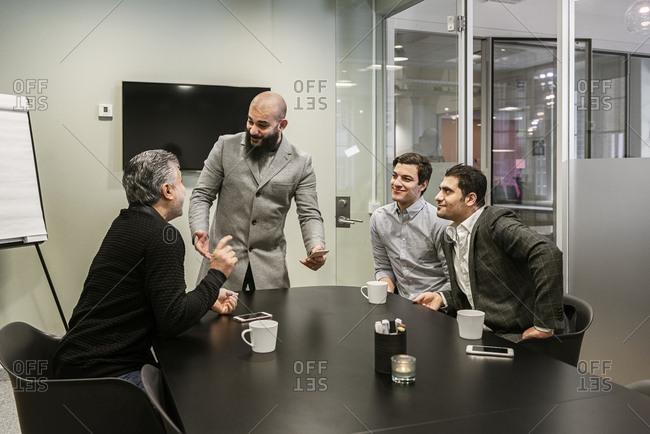 Men during business meeting