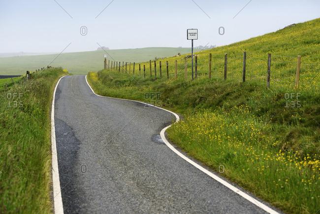 Empty road on Shetland Islands, United Kingdom